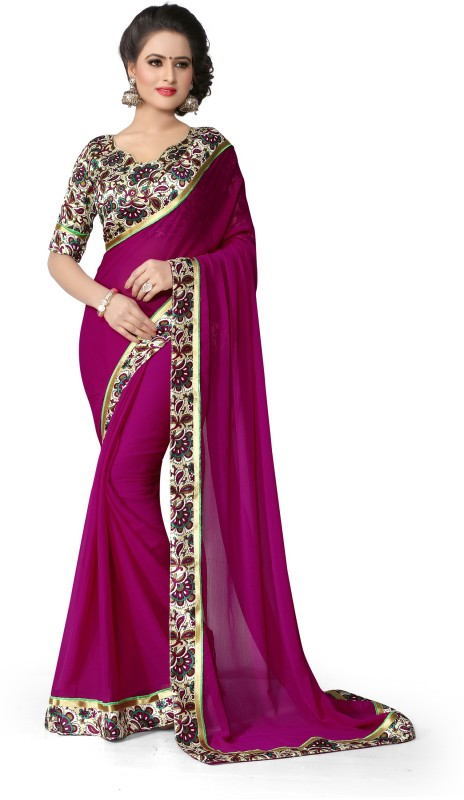Indianbeauty Solid, Printed Bollywood Chiffon Saree(Purple)