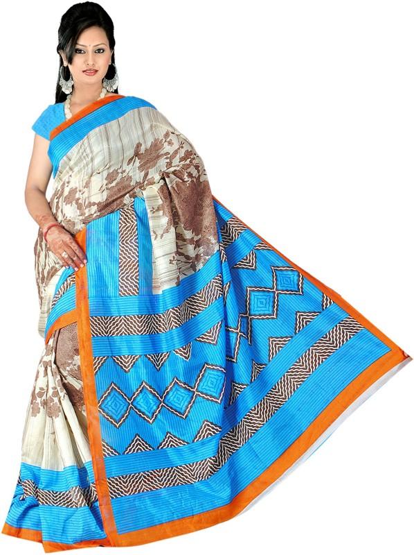 Khushali Self Design, Printed Fashion Art Silk Saree(Blue, Multicolor)