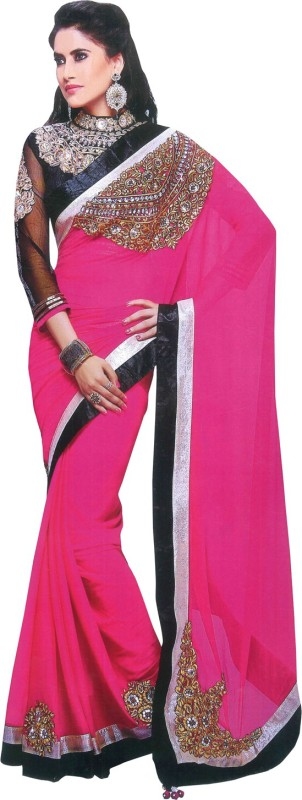 Parchayee Solid Fashion Chiffon Saree(Pink)