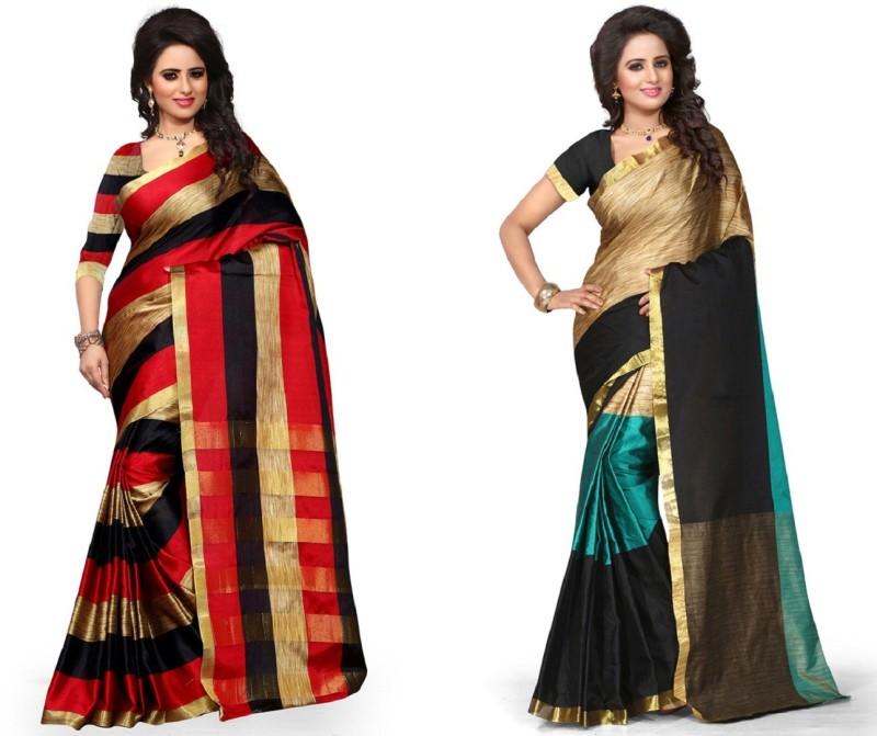 Pehnava Self Design Banarasi Art Silk Saree(Pack of 2, Red, Light Blue,...