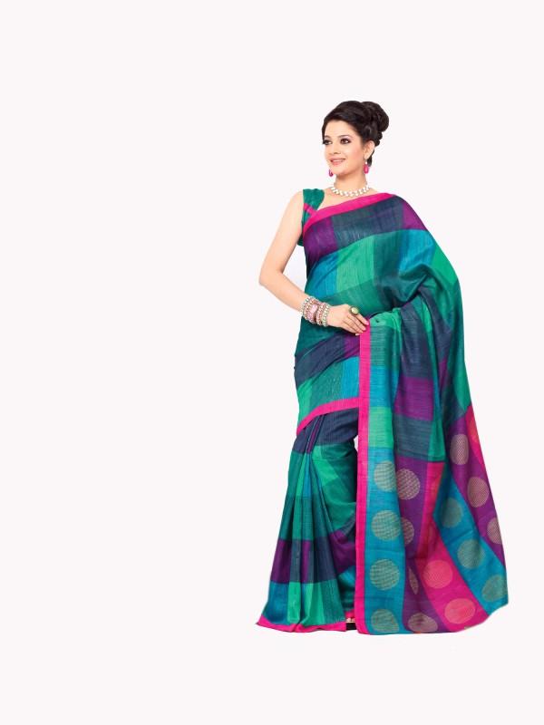 Sunaina Checkered Maheshwari Cotton, Polycotton Saree(Green)