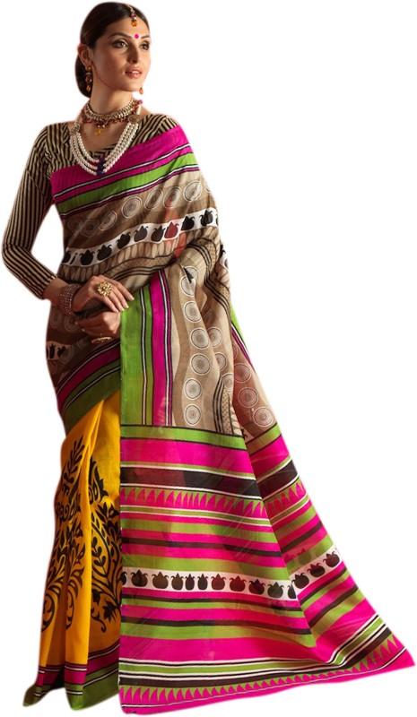 Khushali Self Design, Printed Fashion Art Silk Saree(Yellow)