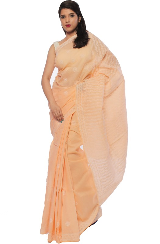 BDS Chikan Embroidered Lucknow Chikankari Cotton Saree(Gold)