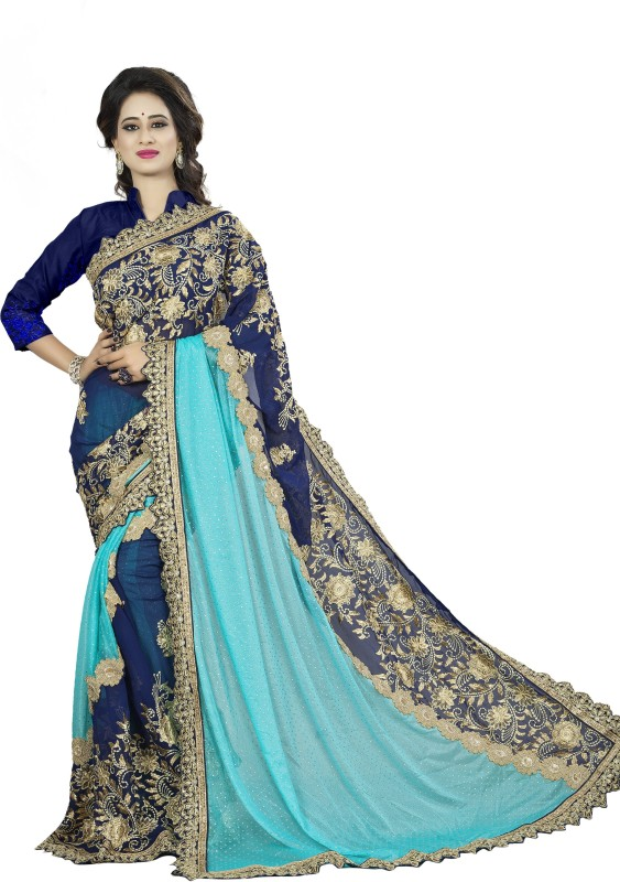 Rola Trendz Embroidered, Self Design Fashion Georgette, Lycra Saree(Blue)