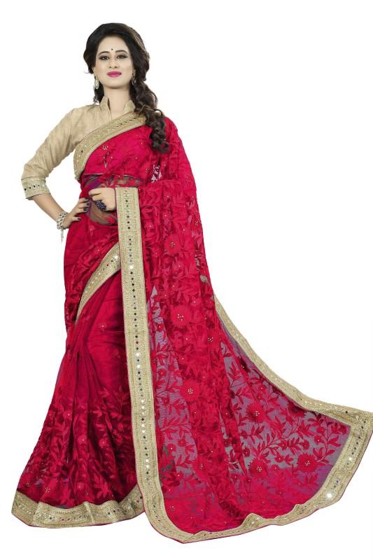 Rola Trendz Embroidered, Self Design Bollywood Net Saree(Red)