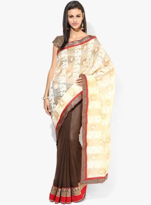 Parchayee Self Design Fashion Net Saree(Beige)