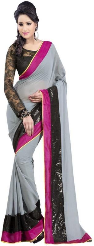 acretails Self Design Fashion Georgette Saree(Grey)