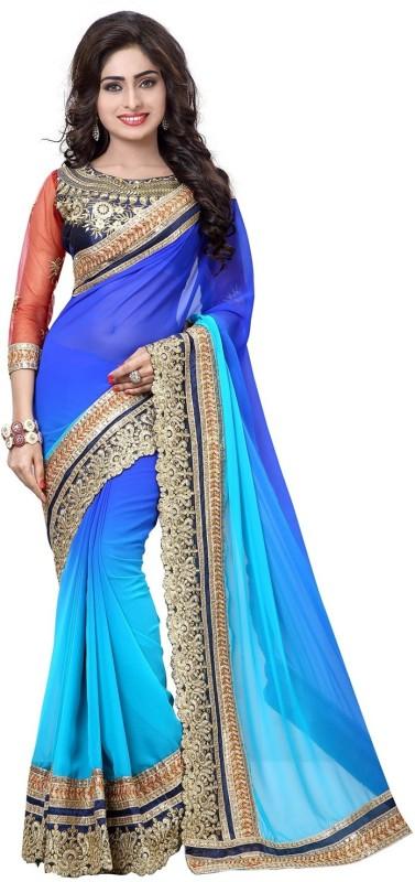 Pragati Fashion Hab Embroidered Fashion Georgette Saree(Blue)