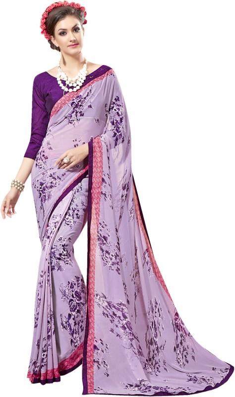 Khushali Self Design, Printed Fashion Poly Georgette Saree(Purple)