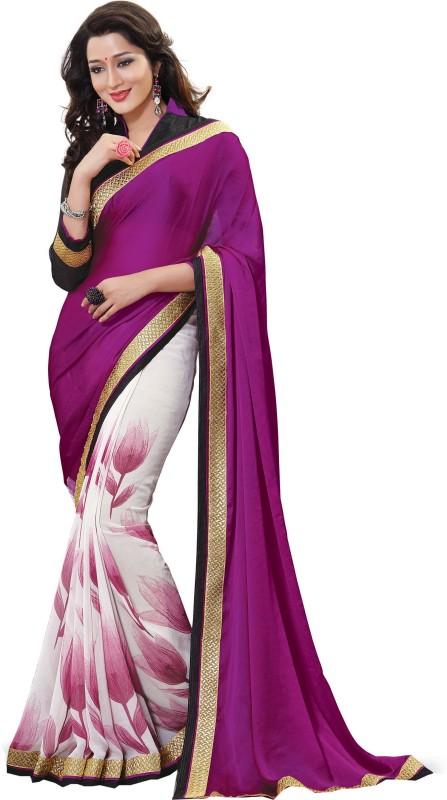 Jiya Self Design, Printed Fashion Chiffon Saree(Purple, White)