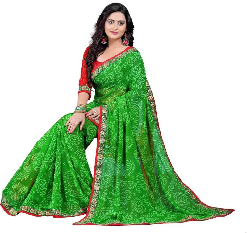 Oomph! Embroidered Fashion Chiffon Saree(Green)
