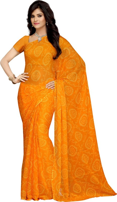 Rani Saahiba Printed Bandhej Synthetic Chiffon Saree(Gold)