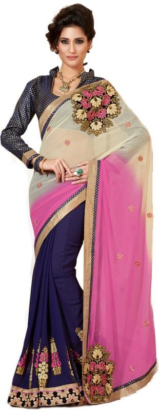 Khushali Self Design, Embroidered, Embellished Fashion Georgette Saree(Pink, Purple, Blue, Beige)