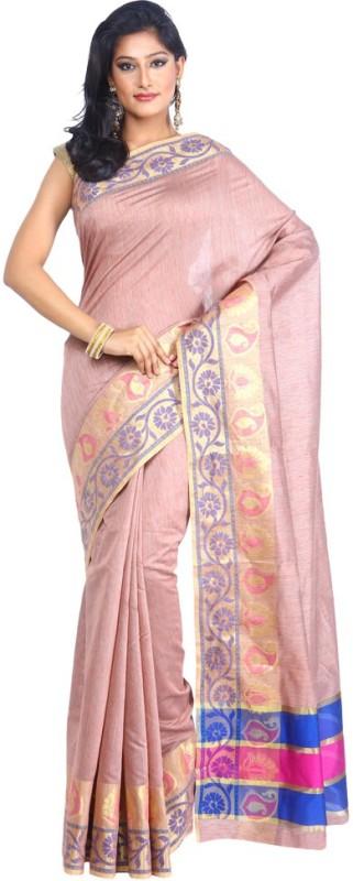 Kataan Bazaar Woven Banarasi Handloom Tussar Silk Saree(Pink)
