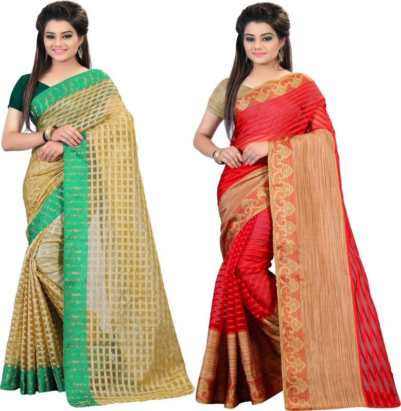 Glory Sarees Striped Daily Wear Handloom Brasso Saree(Pack of 2, Multicolor)