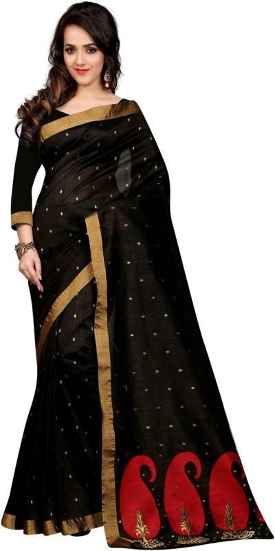 Style U Self Design Banarasi Polycotton Saree(Red, Black)