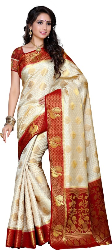 Mimosa Woven Kanjivaram Art Silk Saree(White)