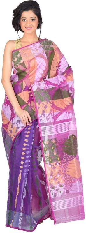 RLBFashion Self Design Jamdani Handloom Cotton Blend Saree(Purple)