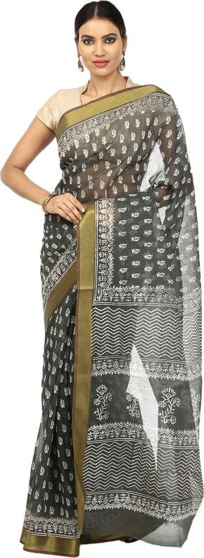 Kalakari India Printed Fashion Cotton Saree(Grey)