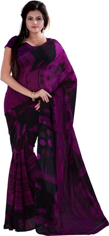 Jiya Self Design, Printed Fashion Poly Georgette Saree(Purple, Black)