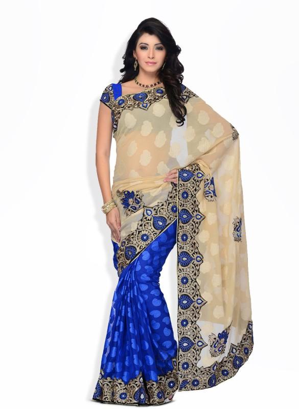 Four Seasons Embroidered, Self Design Fashion Jacquard Saree(Blue)