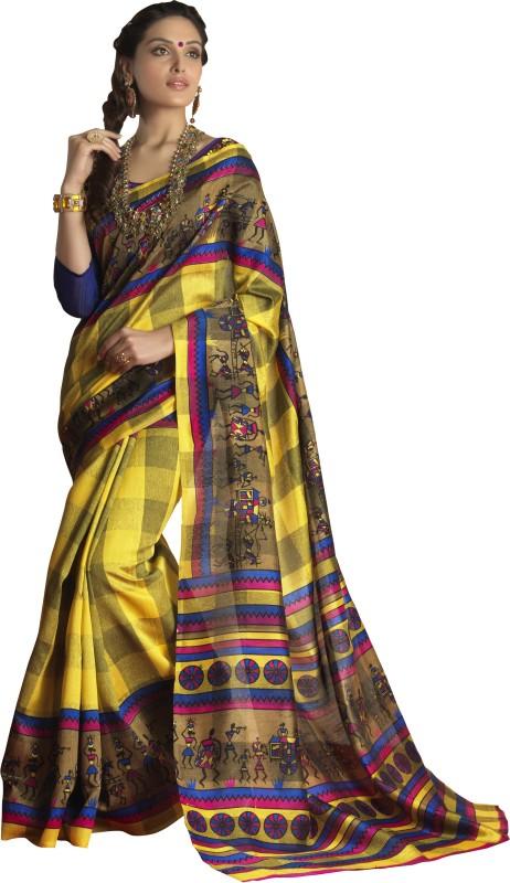 Khushali Self Design, Printed Fashion Art Silk Saree(Yellow, Multicolor)