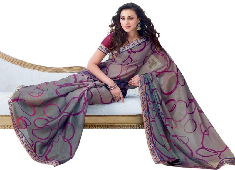 Vishal Printed Fashion Chiffon Saree(Grey)
