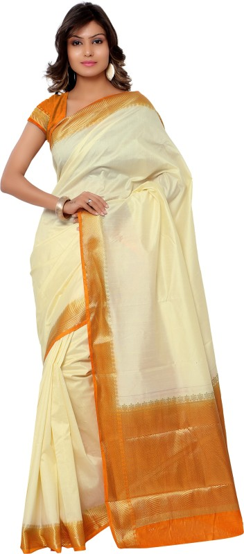 Varkala Silk Sarees Woven Kanjivaram Raw Silk Saree(Beige)