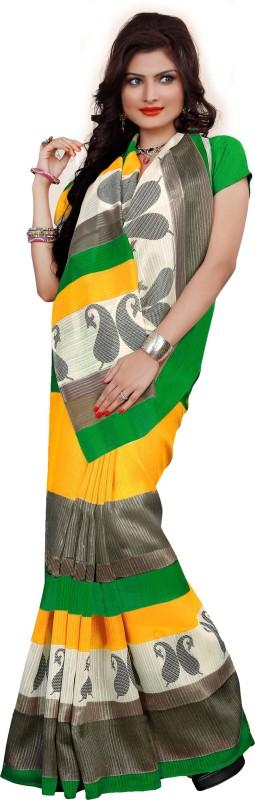 Khushali Self Design, Printed Fashion Art Silk Saree(Yellow, Green, Multicolor)