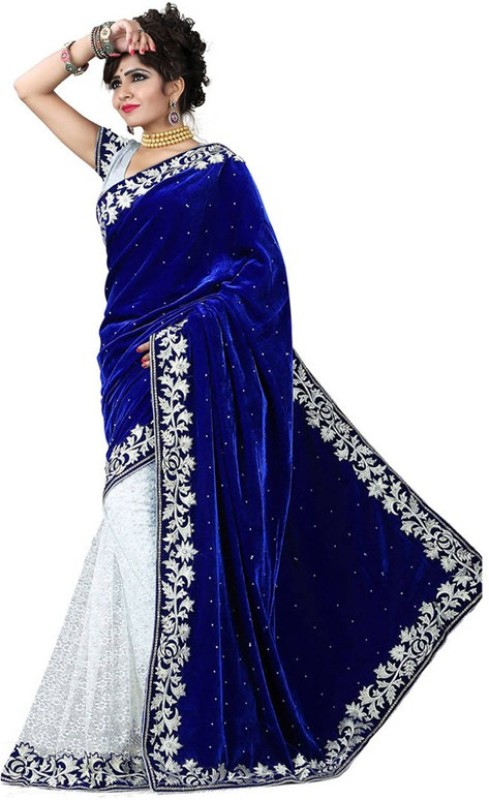 Snh Export Embroidered Bollywood Velvet Saree(Blue, White)