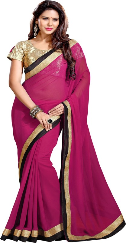 Sourbh Sarees Self Design, Solid, Embroidered Fashion Synthetic Georgette Saree(Pink)