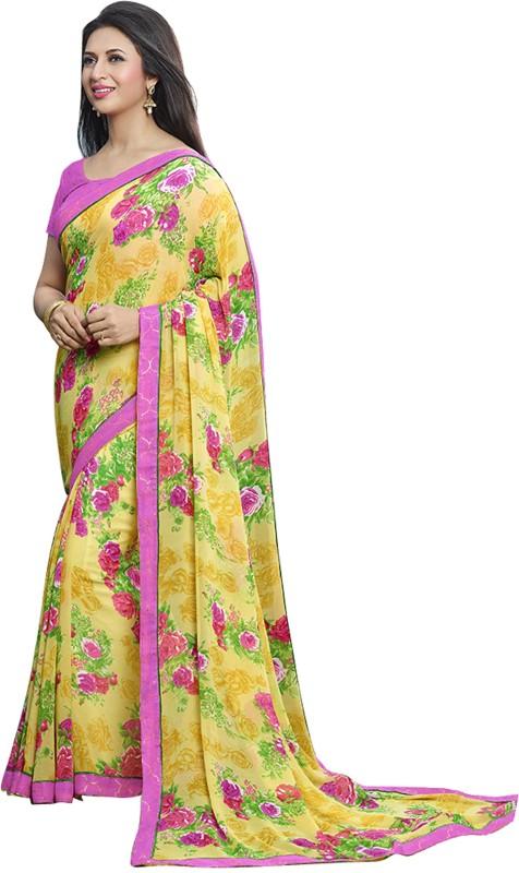 Khushali Self Design, Printed Fashion Georgette Saree(Yellow, Multicolor)