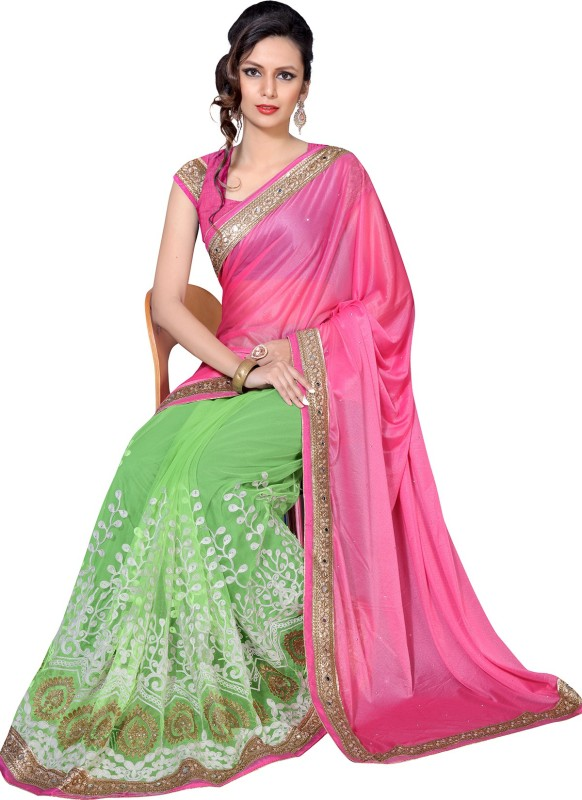 Livie Embroidered, Embellished, Solid Bollywood Net Saree(Pink)