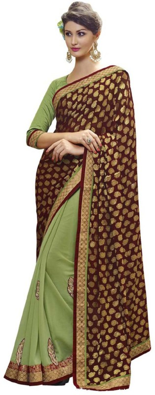 Desi Butik Self Design Fashion Cotton Blend, Poly Georgette Saree(Green, Maroon)