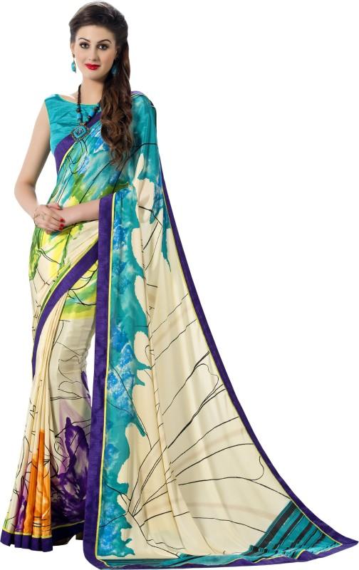 Jiya Self Design, Printed Fashion Art Silk, Poly Crepe Saree(Multicolor, White)