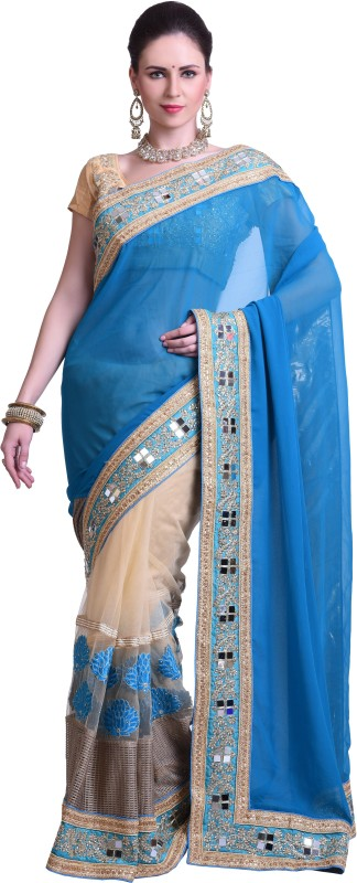 Chirag Sarees Embellished Fashion Synthetic Georgette Saree(Blue)