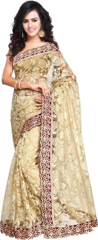 Aruna Sarees Self Design, Embellished Bollywood Net Saree(Beige)