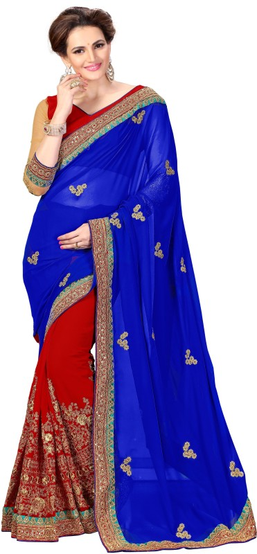 onlinefayda Embroidered Bollywood Georgette Saree(Maroon, Beige)