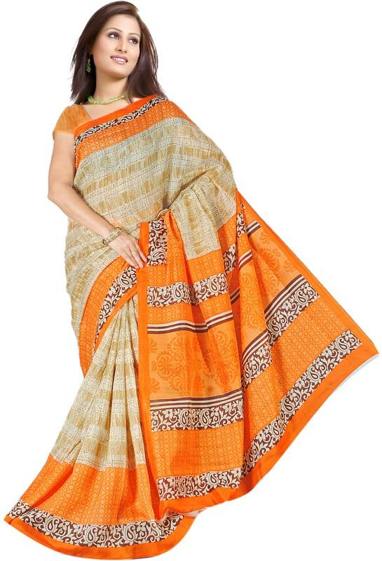 Khoobee Self Design, Printed Fashion Art Silk Saree(Beige, Orange)
