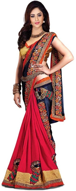 Winza Designer Embroidered Bollywood Satin Blend, Poly Georgette, Chiffon Saree(Multicolor)