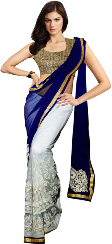 Glory Sarees Embroidered Bollywood Georgette Saree(Blue, White)