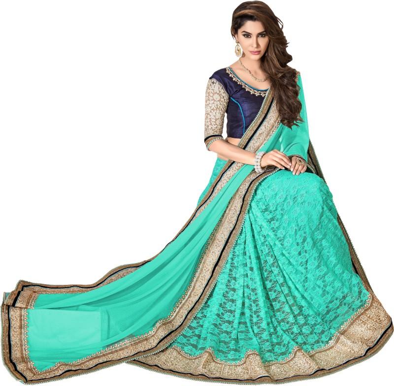 Khoobee Self Design, Embroidered, Embellished Fashion Cotton Blend, Lycra Blend Saree(Light Green)