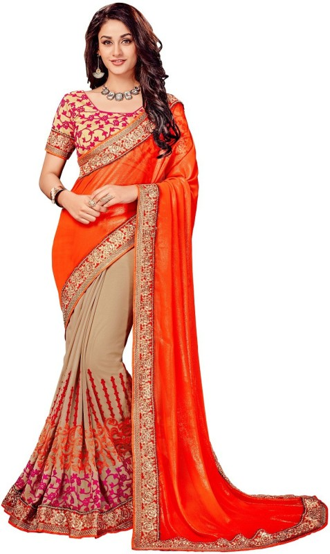 onlinefayda Embroidered Fashion Georgette Saree(Orange, Beige)