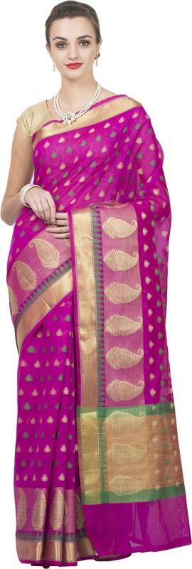 Craftghar Floral Print Banarasi Tissue Saree(Purple)