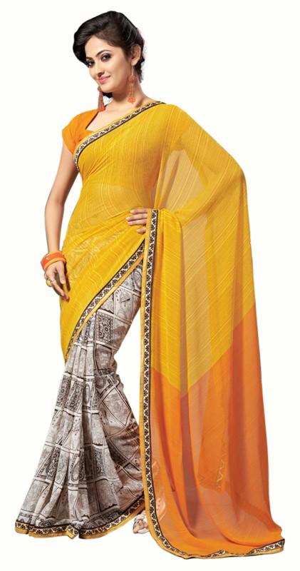 Jiya Self Design, Printed Fashion Poly Georgette Saree(Multicolor, Orange)