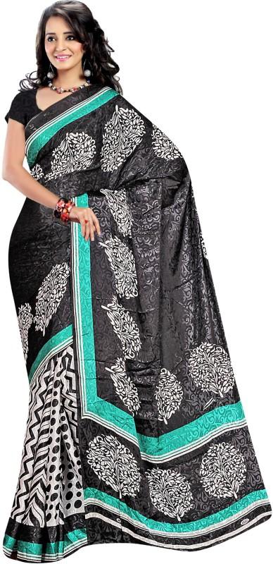 Jiya Self Design, Printed Fashion Cotton Blend Saree(White, Black)
