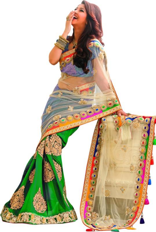 Asha Fashion Embellished, Embroidered, Solid Fashion Chiffon, Net Saree(Green)