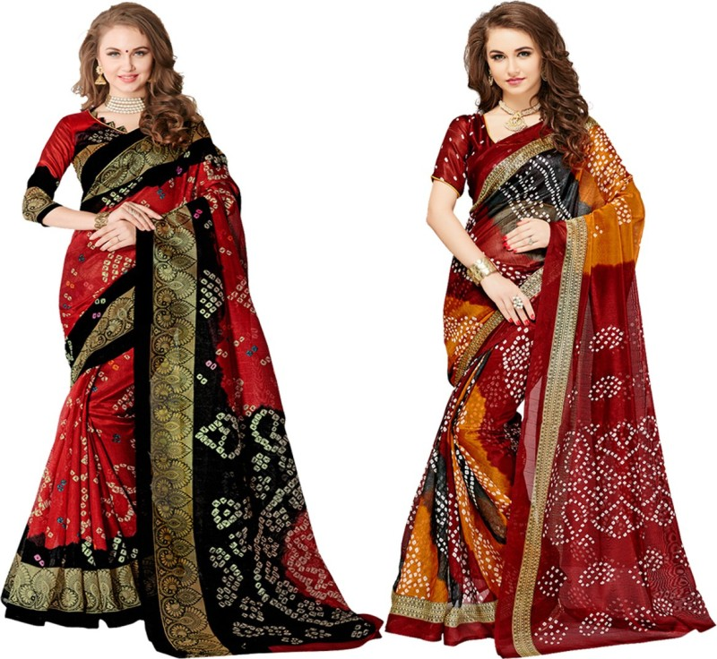 Glory Sarees Printed Bandhani Art Silk Saree(Pack of 2, Multicolor)