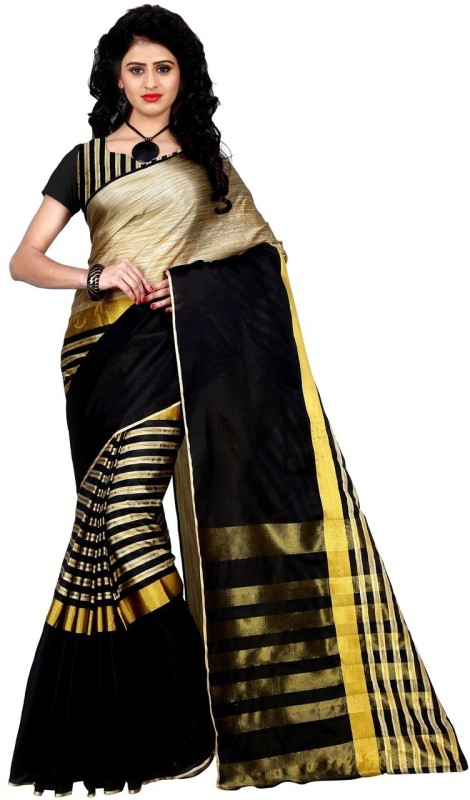 Trendz Style Striped Fashion Tussar Silk, Cotton Linen Blend Saree(Black)