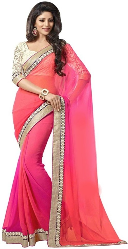 Bollywood Designer Solid Fashion Poly Georgette Saree(Pink)